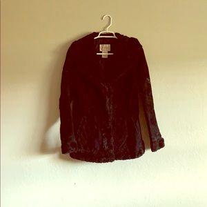 Jackets & Blazers - Genuine Leather (Suede) Black Coat with Fur Trim